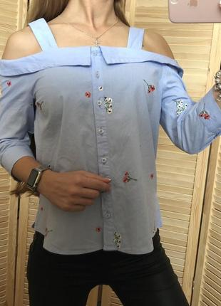 Хлопковая голубая рубашка с вышивкой new look