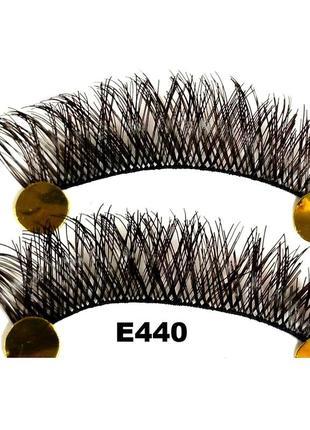Е440 1 пара накладных ресниц на нитке, удлинение к краю