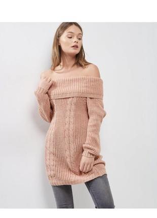 Стильный вязаный свитер с открытыми плечами, объемный джемпер удлиненный,