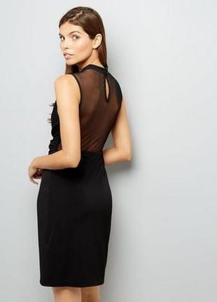Безумно красивое платье с сеточкой на запах, чехол миди по фигуре, строгое, вечернее