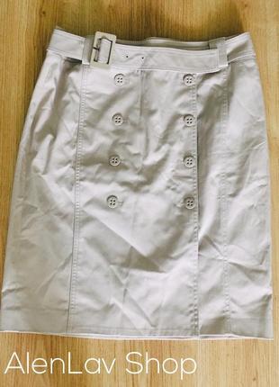 Новая  котоновая юбка под пояс с пуговицами по центру espirit