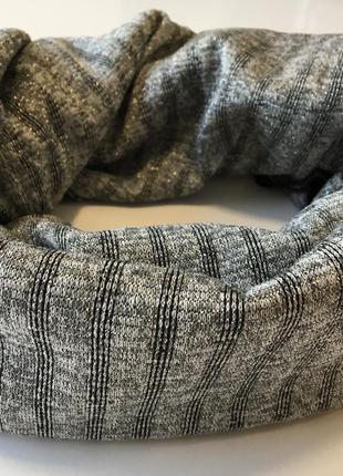 Шарф хомут трикотажный серый с люрексом новинка шарф in ua
