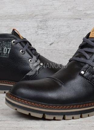 Ботинки clarks кожаные зимние мужские черные натуральная кожа натуральный мех зима