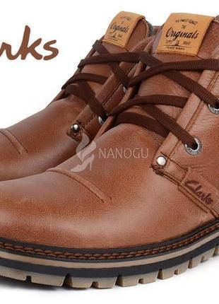 Ботинки clarks кожаные зимние мужские натуральная кожа натуральный мех зима коричневые