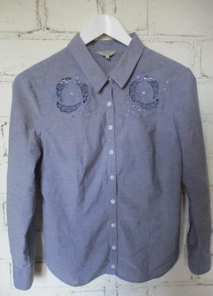 Рубашка с вышивкой/джинс/хлопок/s-m