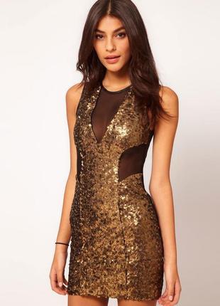 Платье паетки+сетка от asos