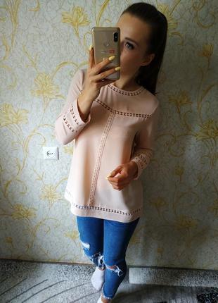 Шикарная блузка цвета розовой пудры