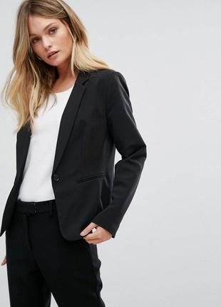 Актуальный классический пиджак приталенный, чёрный жакет костюмный
