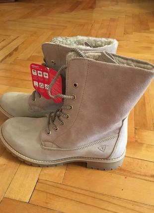 Тёплые кожаные зимние ботинки tamaris 42