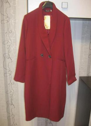 Удлиненный пиджак кардиган на пуговице бордо марсала винный хл, 48