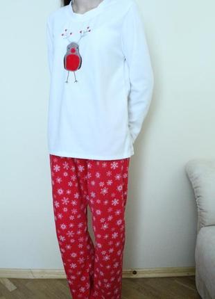 Флисовая пижама, домашний костюм  снегирек на размер м, love to lounge