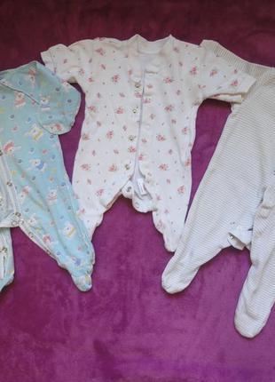 Набор комплект человечки комбинезоны слипы для маловесных недоношеных деток 3 шт