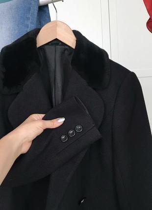 Шерстяной пиджак пальто с воротником искусственный мех