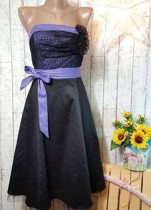 Акция 1+1=3 праздничное коктельное платье с кружевной сеточкой и бантом р. м