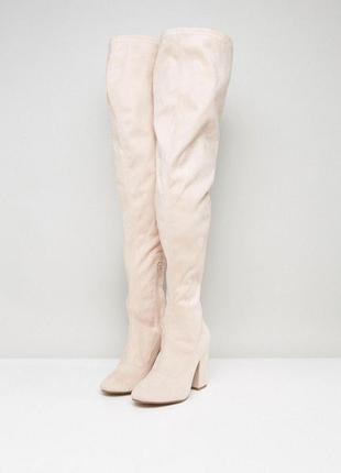 Идеальные сапоги ботфорты резинка замшевые, asos, чулки на каблуке br01
