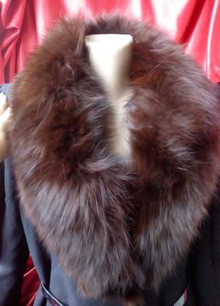 Бомбезне пальто на m-l.,мех песец натуральний.торг.плащ,куртка.