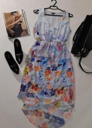 Красивое шифоновое платье удлиненное сзади. размер l