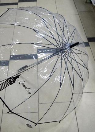 Крепкий женский прозрачный зонт трость 14 спиц принт города мира