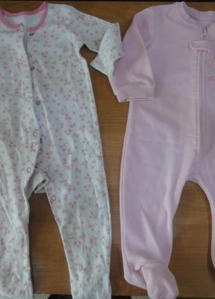 Набор человечки слипы пижамы комбинезоны микрофлис хлопок 2 шт