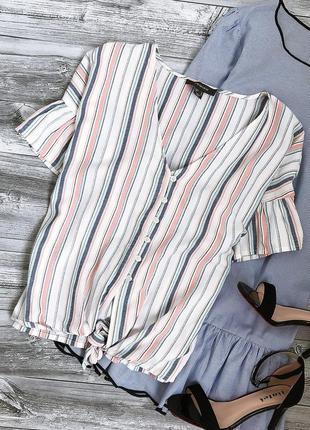 Актуальная рубашка с рюшами в полоску primark