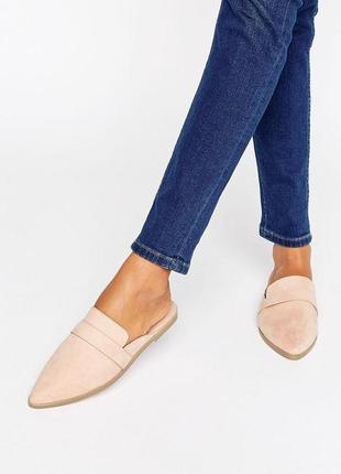 Пудровые нежные мюли под замшу, туфли без каблука, br05