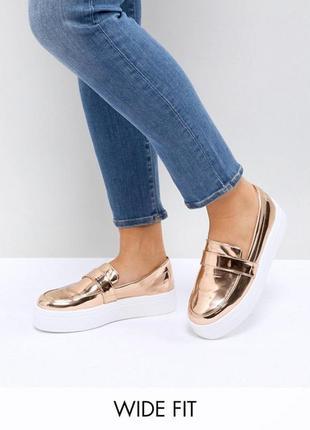 Крутые слипоны asos золотые, металлик лаковые, зеркальные туфли, кеды br06 ab035234766
