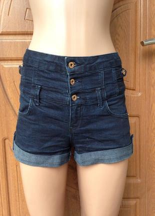 Офигенные джинсовые шорты с высокой талией размер s,xs