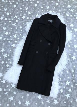 Двубортное пальто от zara в составе шерсть