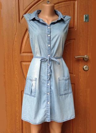Стильное джинсовое платье голубое размер s,m