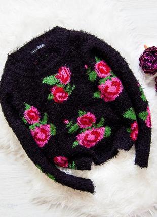 Черный свитер-травка в розы atmosphere