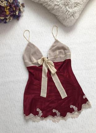 Шикарная шелковая ночная рубашка- ночнушка - белье с кружевом