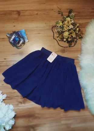 Синяя женская шифоновая юбка новая с биркой мини