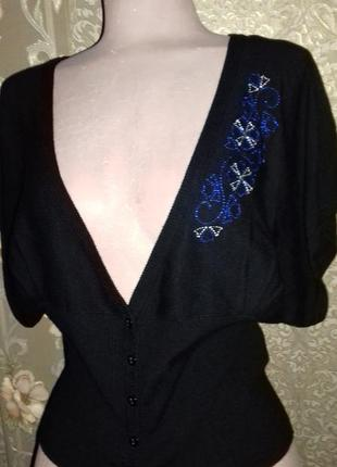 Болеро черное с вышивкой