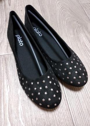 Балетки туфли на низком ходу звёздочки под замшу 38,5