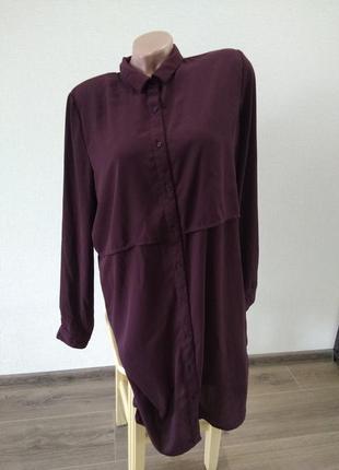 Платье платице туника размер 14 хл xl марсала рубашка рубаха блузка