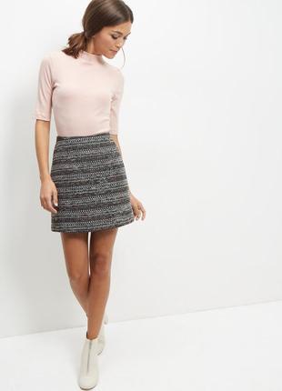 Серая драповая юбка с нитями пастельных тонов new look хлопковая юбка-трапеция