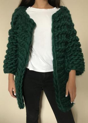 Кардиган зеленый теплый