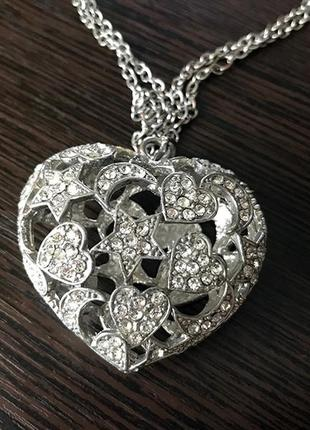 Подвеска кулон сердце (внутри звезды, луна, сердце) asos