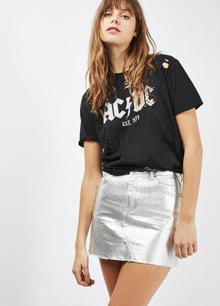 Крутая джинсовая юбка с серебристым металлическим напылением topshop moto высокая талия