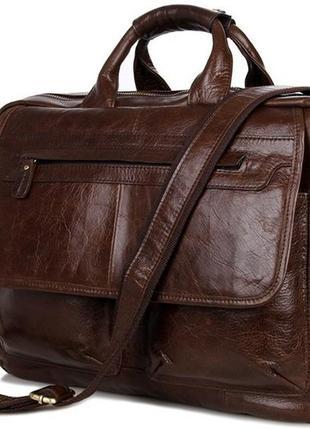 bb7e1d15d30d Вместительная стильная деловая повседневная сумка мужская кожаная  коричневая handmade