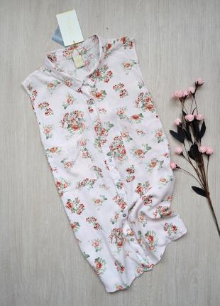 Нежно-розовая блузка рубашка без рукавов с красивой спинкой zebra