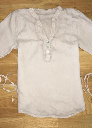 Блуза рубашка туника парка лён на завязках
