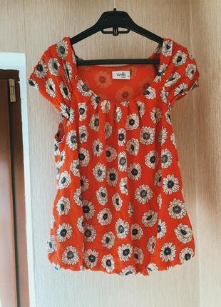 Блузка красная в цветах wallis