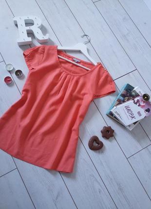 Женственная блуза из льна цвет корал...#00202