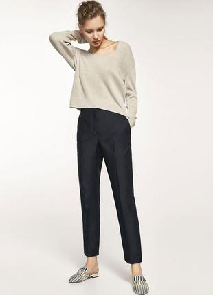 Темно-серые шерстяные брюки massimo dutti на высокой посадке