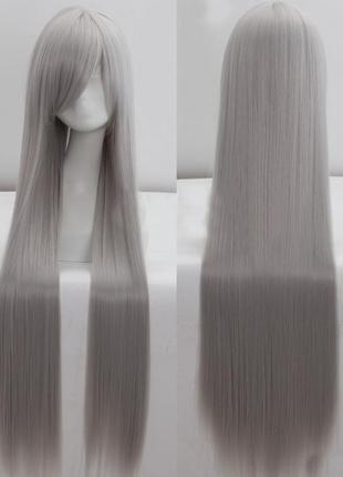Парик длинный прямой 100см серый темный 3541
