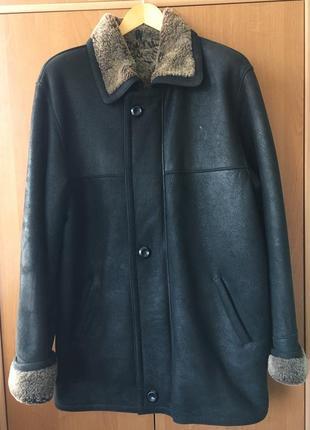 Кожаная зимняя мужская дубленка курточка пальто