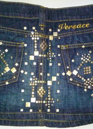Джинсовая мини юбка versace