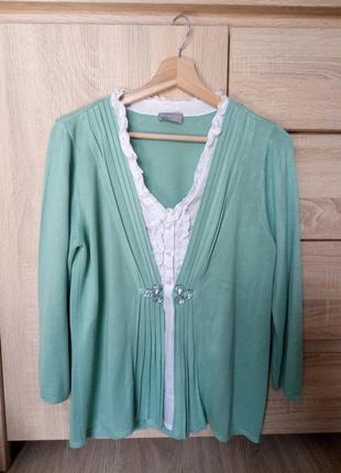 Красивая кофта-обманка с рубашкой мятного цвета per una, р.42