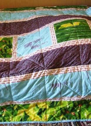 Одеяло покрывало пэчворк тонкое с шерстепоном
